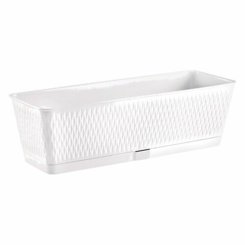 Deroma 7796659 6.3 x 7.1 x 19.7 in. D White Resin Ariel Window Box - Rectangular Perspective: front