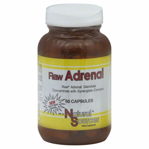 Natural Sources Raw Adrenal Dietary Supplement Capsules Perspective: front