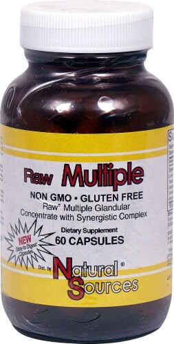 Natural Sources Raw Multiple Dietary Supplement Capsules Perspective: front