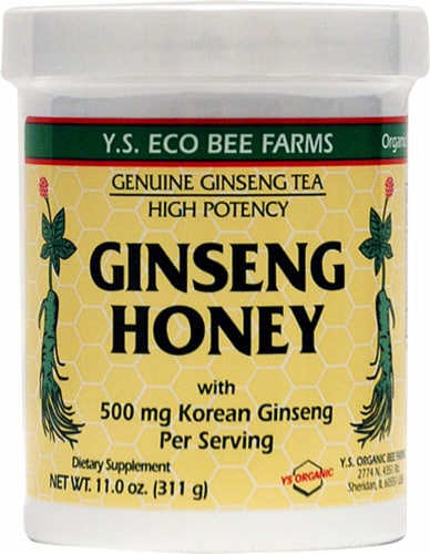 YS Eco Bee Farms Ginseng Honey Dietary Supplement 500mg Perspective: front