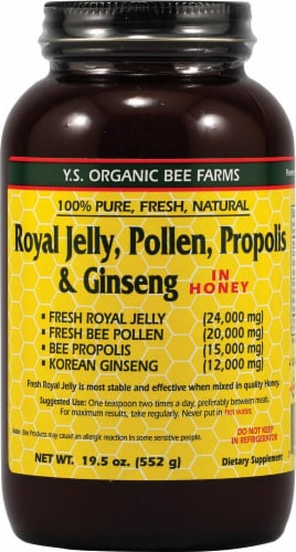 YS Eco Bee Farms  Royal Jelly Pollen Propolis and Ginseng Perspective: front