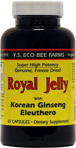 YS Eco Bee Farms  Royal Jelly with Korean Ginseng and Eleuthero Perspective: front