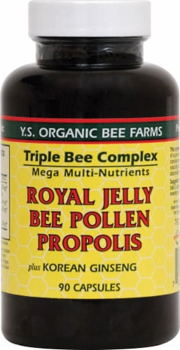 YS Eco Bee Farms  Triple Bee Complex  Royal Jelly Bee Pollen Propolis plus Korean Ginseng Perspective: front
