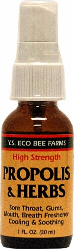 YS Eco Bee Farms  Propolis & Herbs Throat Spray Perspective: front