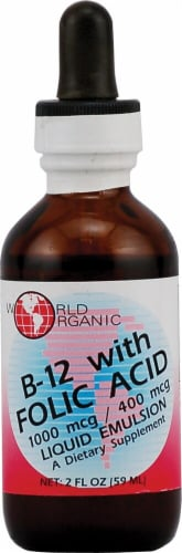 World Organic  B-12 with Folic Acid Perspective: front