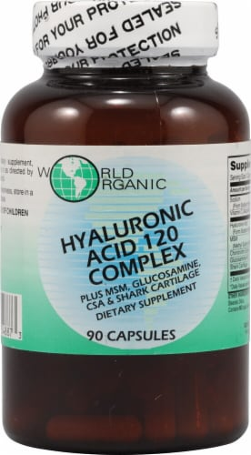 World Organic Hyaluronic Acid 120 Complex Capsules Perspective: front