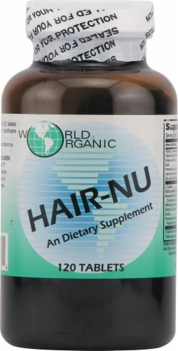 World Organic Hair-Nu Supplement Tablets Perspective: front