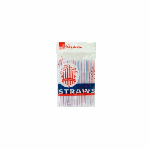Kole Imports HC003-100 Flexible Drinking Straws - Pack of 100 Perspective: front