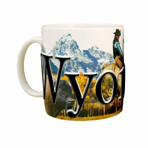 Wyoming 18 oz Full Color Relief Mug Perspective: front