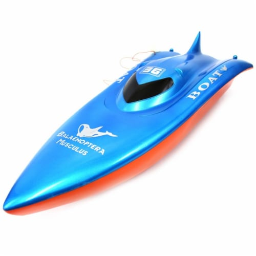 23 in. Balaenoptera Musculus Racing Boat Toy - Red & Blue Perspective: front