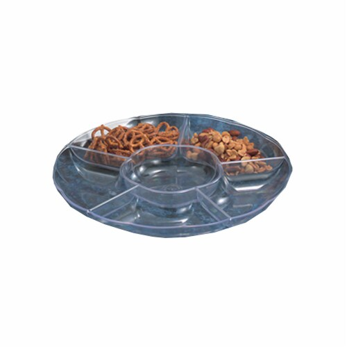 13 in. 6 Compartment Scalloped Tray, Clear - Pack of 12 Perspective: front