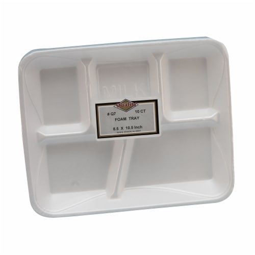 9 x 7 in. White 5 Compartment Foam Tray - Case of 240 Perspective: front