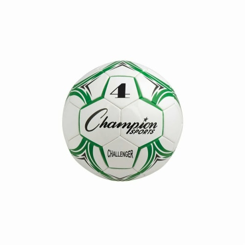 Challenger Series Soccer Ball, Green & White - Size 4 Perspective: front