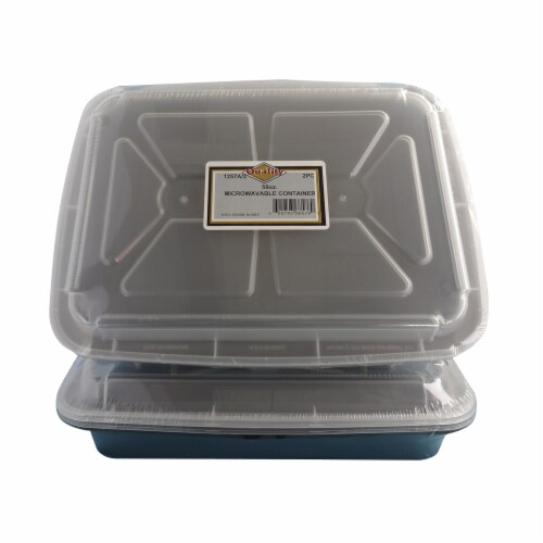 1257A-2 PEC 58 oz Black Microwavable Rectangular Container Combo - Case of 24 - 2 Per Pack Perspective: front