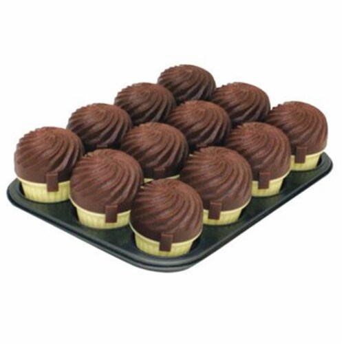 12 Cup Muffin Pan - Chocolate Perspective: front