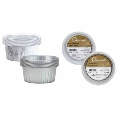 2 1/2'' Mini Round Aluminum Baking Pans -Silver- Hanna K. Signature Elements Case of 36 Perspective: front