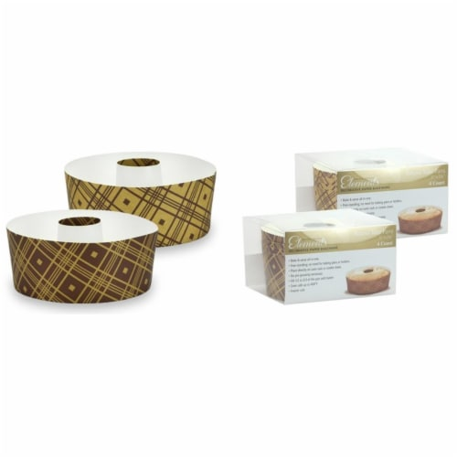5'' Round Tube Baking Pans, Small - Plaid - 4-Packs - Hanna K. Signature Elements Case of 12 Perspective: front