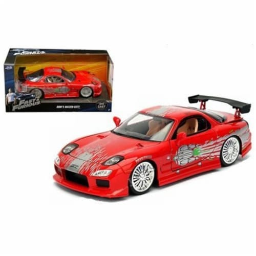 1 by 24 Doms Mazda RX-7 Fast & Furious Movie Diecast Model Car, Red Perspective: front