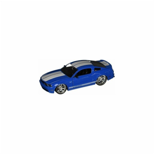 1 by 24 2010 Ford Mustang GT Stripes Diecast Model Car, Blue & White Perspective: front