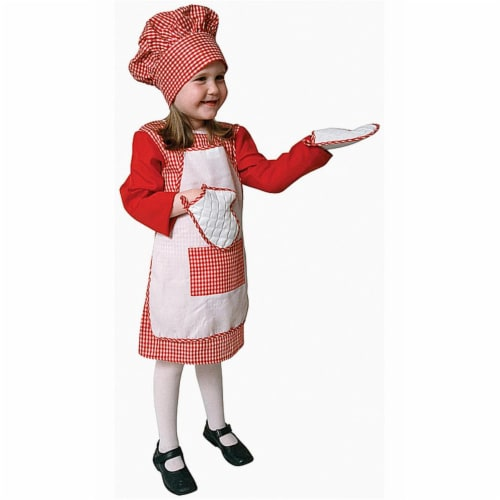 Red Gingham Girl Chef - Toddler T4 Perspective: front