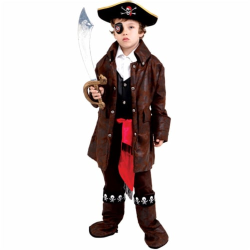 7 Toddler 4 Caribbean Boy Pirate Costume Perspective: front