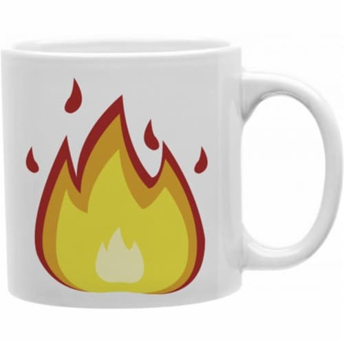 Fire Emoji 11 oz Ceramic Coffee Mug Perspective: front