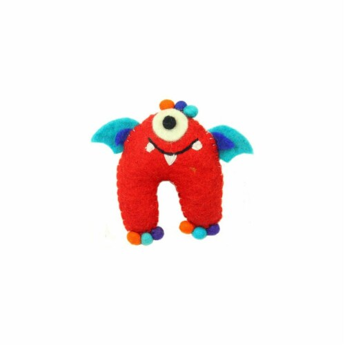 Hand Felted One-Eyed Tooth Monster with Wings, Red Perspective: front