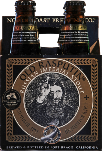North Coast Brewing Co. Old Rasputin Russian Imperial Stout Perspective: front