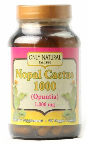 Only Natural Nopal Cactus 1000 mg Dietary Supplement Veggie Capsules Perspective: front
