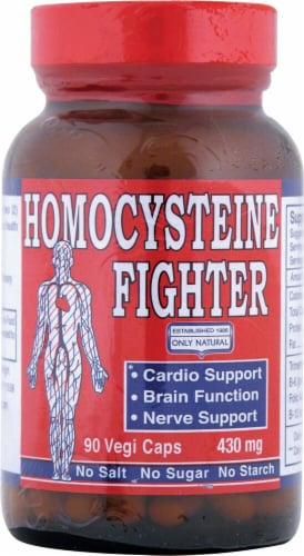 Only Natural Homocysteine Fighter Dietary Supplement Vegetarian Capsules Perspective: front
