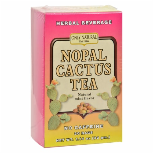 Only Natural Nopal Cactus Tea Caffeine Free Natural Mint - 20 Tea Bags Perspective: front