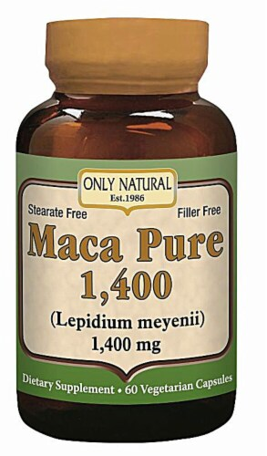 Only Natural Maca Pure 1400 mg Dietary Supplement Vegetarian Capsules Perspective: front
