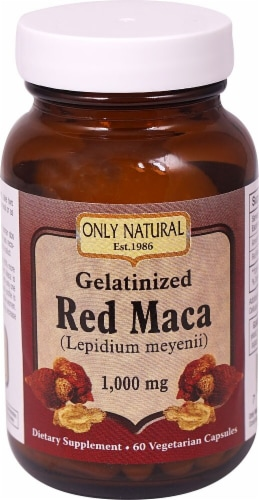 Only Natural Gelatinized Red Maca 1000 mg Dietary Supplement Vegetarian Capsules Perspective: front