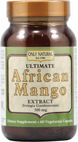 Only Natural Ultimate African Mango Extract 500 mg Dietary Supplement Vegetarian Capsules Perspective: front