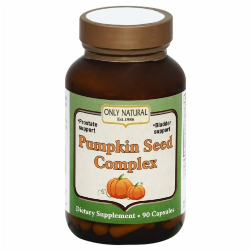 Only Natural Pumpkin Seed Complex Dietary Supplement Capsules Perspective: front