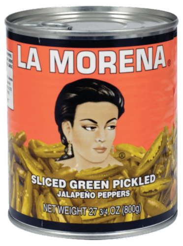 La Morena Sliced Green Pickled Jalapeno Peppers Perspective: front