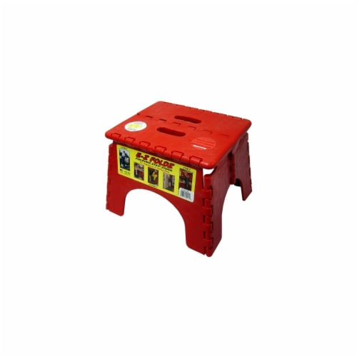 E-Z Folds Folding Step Stool - Red Perspective: front