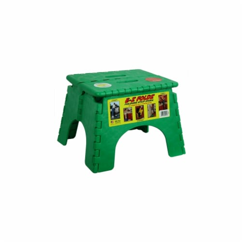 E-Z Folds Step Stool - Green Perspective: front