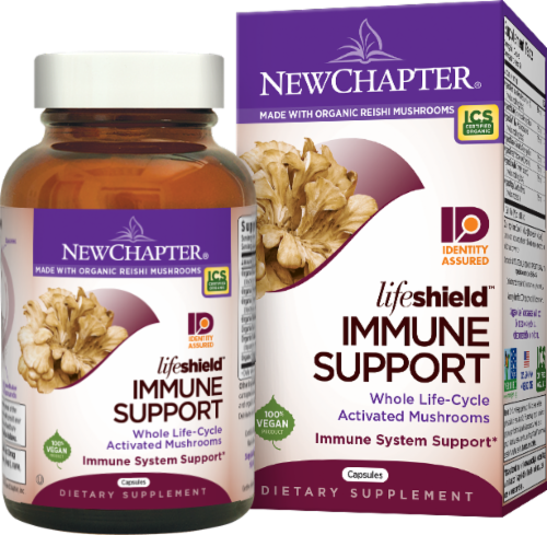 New Chapter Organics Lifeshield Immune Support Dietary Supplement Perspective: front