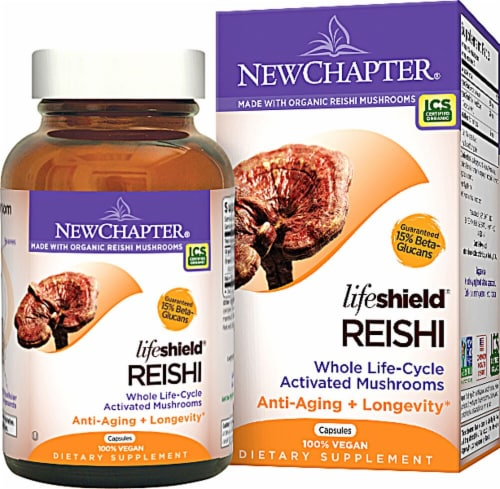 New Chapter Lifeshield Reishi Anti-Aging Dietary Supplement Perspective: front