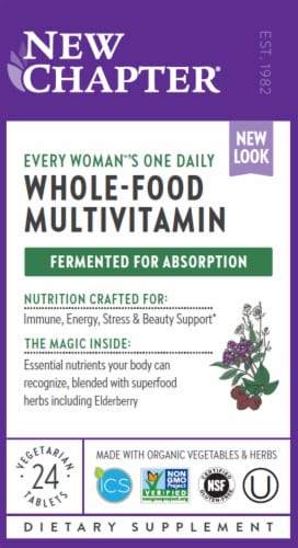 New Chapter Every Woman's One Daily Whole-Food Multivitamin Vegetarian Tablets Perspective: front