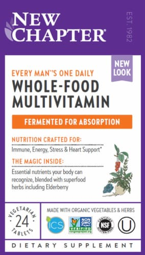 New Chapter Every Man's One Daily Whole-Food Multivitamin Vegetarian Tablets Perspective: front