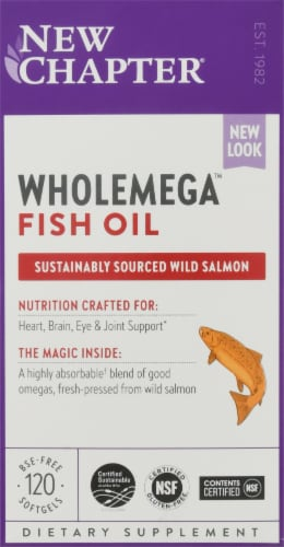 New Chapter Whole Mega Whole Fish Oil 1000mg Softgels Perspective: front