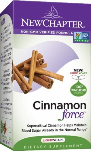 New Chapter Cinnamon Force Liquid Vegetarian Capsules Perspective: front