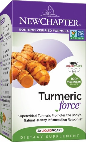 New Chapter Turmeric Force Liquid Vegetarian Capsules Perspective: front