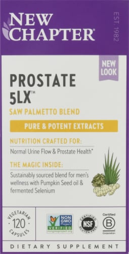 New Chapter Supercritical Prostate 5LX Dietary Supplement Vegetarian Capsules Perspective: front
