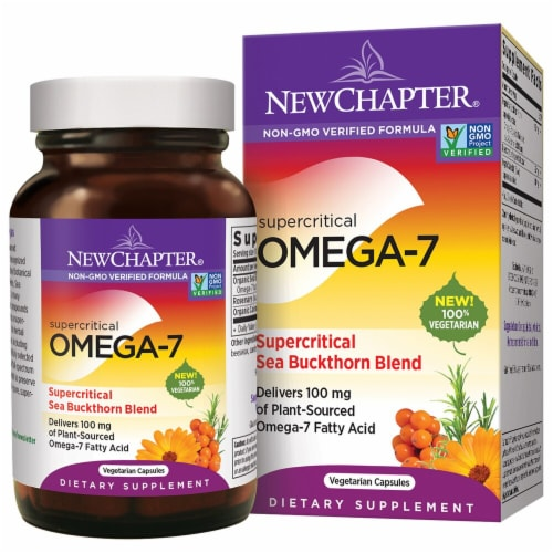 New Chapter Supercritical Omega-7 Sea Buckthorn Blend Dietary Supplement Vegetarian Capsules 100mg Perspective: front