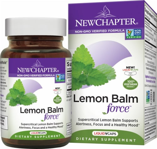 New Chapter Lemon Balm Force Dietary Supplement Liquid Vegetarian Capsules Perspective: front