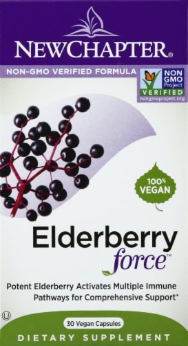 New Chapter Elderberry Force Dietary Supplement Capsules 30 Count Perspective: front