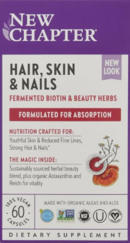 New Chapter Hair Skin & Nails Vegetarian Tablets Perspective: front